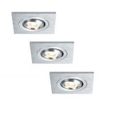 LED-Einbauleuchten Set in Aluminium-gebürstet inklusive 3x3W LED 30° schwenkbar