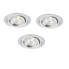 LED-Einbauleuchten Set in Aluminium-gebürstet 3x 3W LED 20°schwenkbar