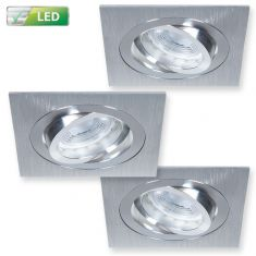 LED-Einbaustrahler 3er Set, dimmbar, Alu-gebürstet, eckig