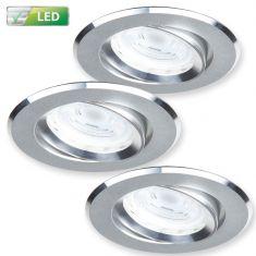 LED-Einbaustrahler 3er-Set Alu matt, rund, LED 3x GU10 5 W