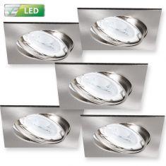 LED-Einbaustrahler 5er-Set Chrom matt, eckig - 5 x GU10 3W