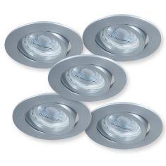 LED-Einbaustrahler Aluminium rund, 5er-Set GU10-LED 5 W