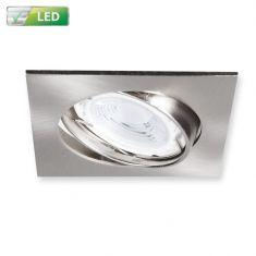 LED-Einbaustrahler Chrom matt, Eckig, LED 1 x GU10  3 Watt