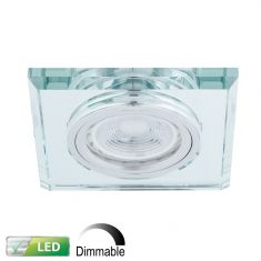 LED-Einbaustrahler dimmbar, Glasrahmen eckig - 1x GU10 5W
