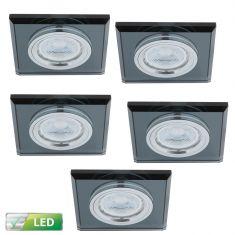 LED-Einbaustrahler Glasrahmen eckig schwarz, 5er-Set GU10 5W