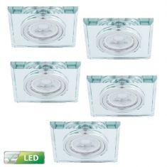 LED-Einbaustrahler mit Glasrahmen eckig - 5er-Set LED GU10 5W