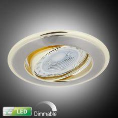 LED-Einbaustrahler mit goldenen Elementen - Dimmbar, LED 1 x 5 Watt