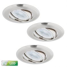 LED-Einbaustrahler Nickel Satin 3er-Set Rund, 3 x GU10 5W