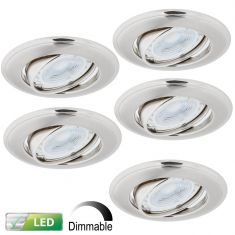 LED-Einbaustrahler Nickel Satin - 5er-Set