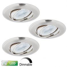 LED-Einbaustrahler Nickel Satin - Dimmbar - 3er-Set - Rund - Schwenkbar - Inklusive LED 3 x GU10 5,8 Watt