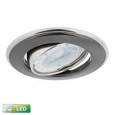 LED-Einbaustrahler Nickel / Graphit rund, Schwenkbar, 1x GU10 5W