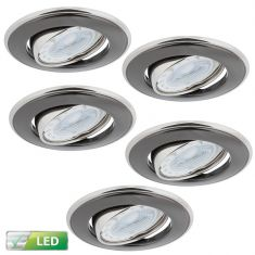 LED-Einbaustrahler in Nickel / Graphit, 5er Set LED 5W
