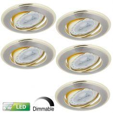 LED-Einbaustrahler rund, goldene Elemente, dimmbar - 5er-Set GU10 5W