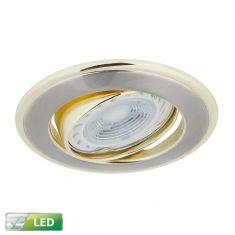 LED-Einbaustrahler rund, goldene Elemente, LED 5 W GU10
