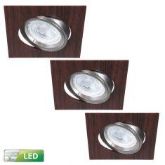 LED-Einbaustrahler Wengeholz eckig, 3er Set LED GU10 5W