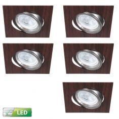 LED-Einbaustrahler Wengeholz eckig, 5er Set LED GU10 5W