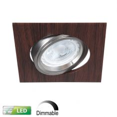 LED-Einbaustrahler Wengeholz eckig, 5er-Set LED 5W, Dimmbar