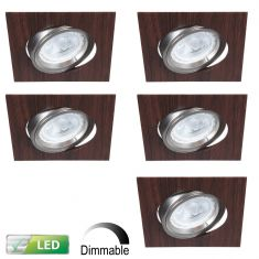 LED-Einbaustrahler Wengeholz, eckig, 5er-Set LED 5W, dimmbar
