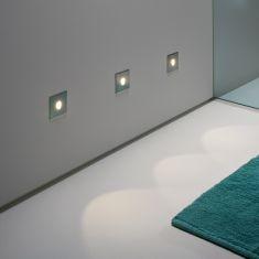 LED-Einbau-Wandleuchte für Innen und Außen - fünf Oberflächen wählbar - inklusive 1W LED 3000°K warmweiß
