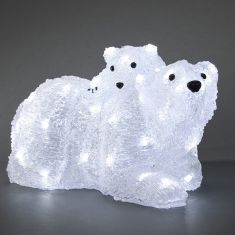 LED-Eisbär Mutter mit Kind - Acryl - Für den Außenbereich - 96 kalt weiße LED-Dioden - Inklusive 24 V Außentrafo