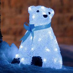 LED-Eisbär sitzend - Acryl - Für den Außenbereich - 40 kalt weiße LED-Dioden - Inklusive 24 V Außentrafo