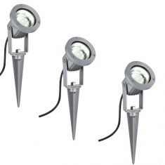 LED-Erdspießstrahler 3er Set 3x 1W, schwenkbar