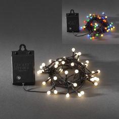 LED - Globelichterkette - 40 Dioden - Für den Außenbereich - Batteriebetrieben - Mit Lichtsensor und 6h bzw. 9h Timer - 2 Farben