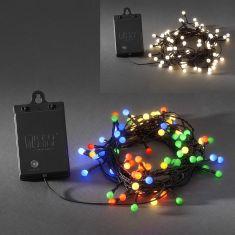 LED - Globelichterkette - 80 Dioden - Für den Außenbereich - Batteriebetrieben - Mit Lichtsensor und 6h bzw. 9h Timer - 2 Farben