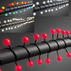 LED - Globelichterkette - 80 runde Dioden - 24V Außentrafo -  4 Farben