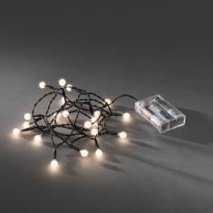 LED - Globelichterkette - 20 runde Dioden - Batteriebetrieben - Innen - warmweiße Dioden warmweiß