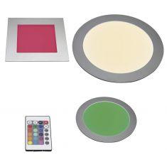 LED-Lichtpanel mit Farbwechsel in Silber rund oder quadratisch mit Fernbedienung und Vorschaltgerät