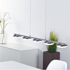 LED-Pendelleuchte aus Metall und Kunststoff für den Essbereich,  5x4,2Watt , 3000K warmweiß