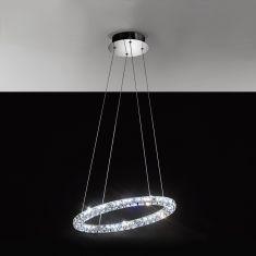 LED-Pendelleuchte in Chrom mit klarem Kristallglas, Länge 60cm