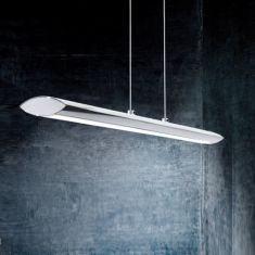 LED-Pendelleuchte in Chrom, Touchdimmer, Länge 110cm