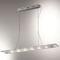 LED-Pendelleuchte mit rechteckiger Glasplatte, Chrom