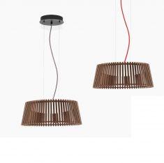 LED-Pendelleuchte Naturholz dunkel, 47 cm, Kabel in 2 Farben