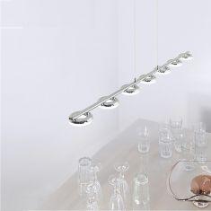 LED-Pendelleuchte Stahl/Chrom - 7 x 4,2Watt LED