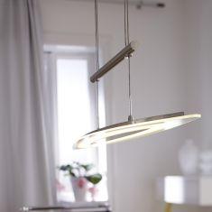 LED-Pendelleuchte - Nickel matt - Glas teilsatiniert - Höhenverstellbar - Inklusive LED 24 Watt
