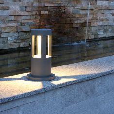 LED-Pollerleuchte 10W in grau + gratis Spannungsprüfer