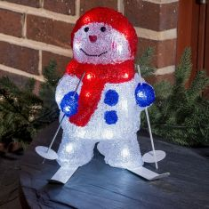 LED-Schneemann mit Ski, 96 kaltweiße LED