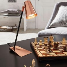 LED-Schreibtischleuchte in kupferfarbig - schwarz, Höhe 37cm