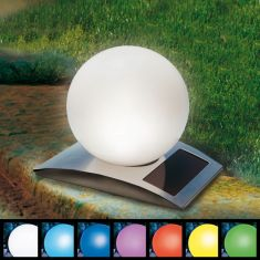LED-Solar Desgin Kugelleuchte Ø25cm mit 7-fach Farbwechsler