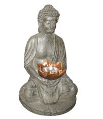 LED-Solar-Figur Budda in Stein-Optik mit  1 gelben LED