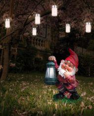 LED-Solar-Figurenleuchte Gartenzwerg mit Laterne - witterungsbeständiger Kunststoff