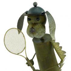 LED-Solarleuchte Hund als Tennisspieler