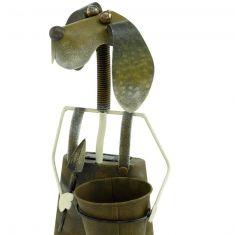 LED-Solarleuchte Hund mit Pflanzbehälter