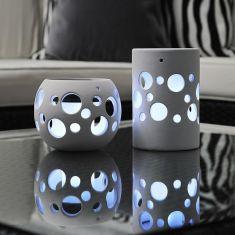 LED-Solarleuchte Keramik in weiß, 1 weiße LED, 2 Varianten