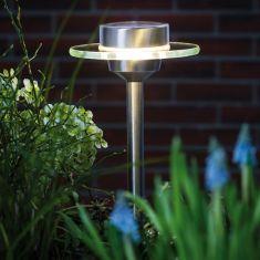 LED-Solarleuchte - Edelstahl - Glas - Leuchtdauer 3 - 5 Stunden