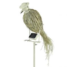 LED-Solarspieß Vogel, Metall antik weiß, Bambus