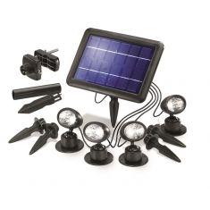 LED-Solarspots in schwarz mit Solarpanel zur flexiblen Befestigung